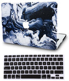 Macbook Case with US/CA Keyboard Cover' Package | Marble Collection - Black Grey Marble - Case Kool