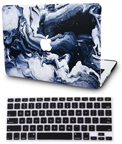 Macbook Case with US Keyboard Cover Package | Marble Collection - Black Grey Marble - Case Kool