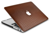 Macbook Case with Keyboard Cover Package | Matte Brown Crocodile Leather