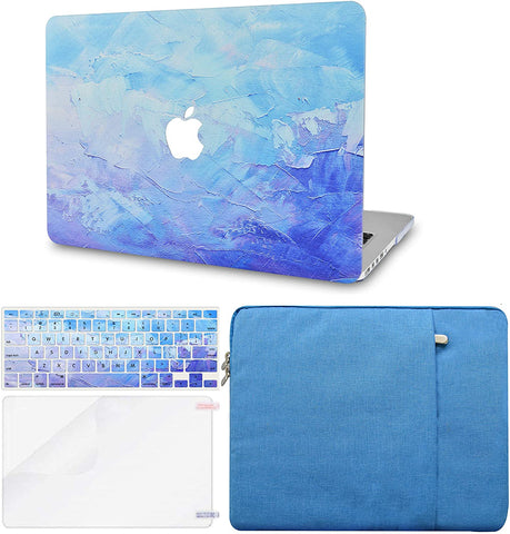 Macbook Case with Keyboard Cover, Screen Protector and Sleeve Package | Blue - Water Paint 2