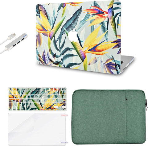 Macbook Case with Keyboard Cover, Screen Protector and Sleeve Sleeve Bag and USB |Leaf - Colorful 3