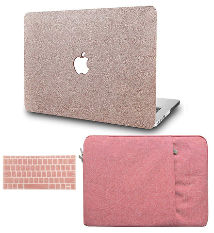Macbook Case with Keyboard Cover and Sleeve Package | Color Collection - Rose Gold Sparkling - Case Kool
