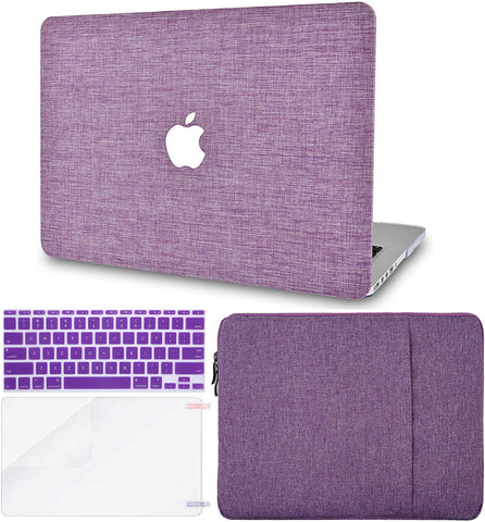 Macbook Case with Keyboard Cover, Screen Protector and Sleeve Package | Color Collection - Purple Fabric - Case Kool