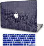 Macbook Case with Keyboard Cover Package | Matte Navy Crocodile Leather