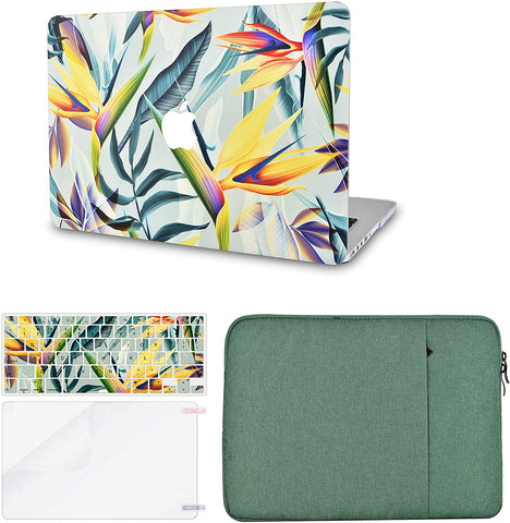 Macbook Case with Keyboard Cover, Screen Protector and Sleeve Package | Leaf - Colorful 3