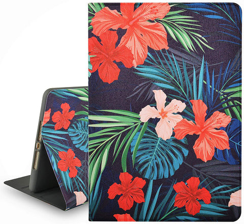 iPad Case | Flower Collection - Palm Leaves Red Flower - Case Kool