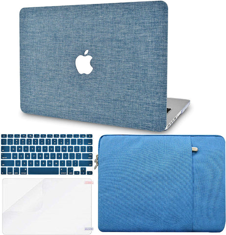 Macbook Case with Keyboard Cover, Screen Protector and Sleeve Package | Color Collection - Blue Fabric - Case Kool
