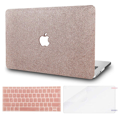 Macbook Case with US/CA Keyboard Cover and Screen Protector Package | Color Collection - Rose Gold Sparkling - Case Kool
