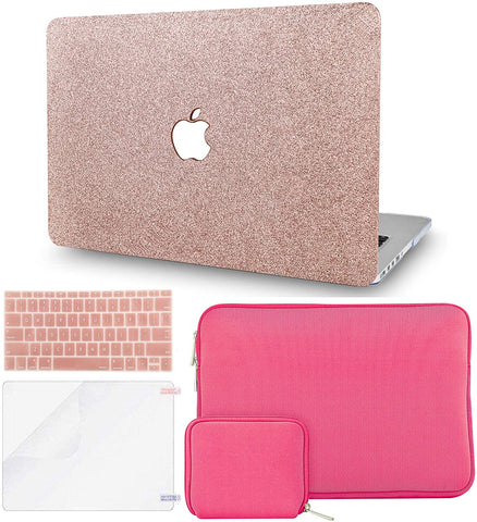 Macbook Case with Keyboard Cover + Slim Sleeve + Screen Protector + Pouch |Rose Gold Sparkling