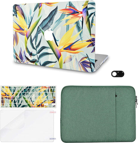 Macbook Case with Keyboard Cover, Screen Protector and Sleeve Sleeve Bag and Webcam Cover|Leaf - Colorful 3