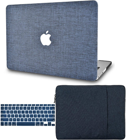 Macbook Case with Keyboard Cover and Sleeve Package | Navy Fabric