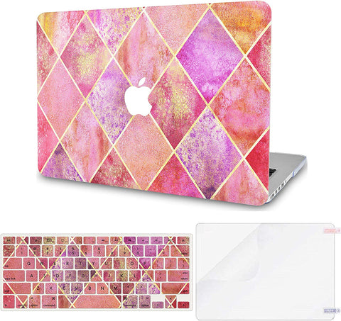Macbook Case with Keyboard Cover and Screen Protector Package | Pink Diamond