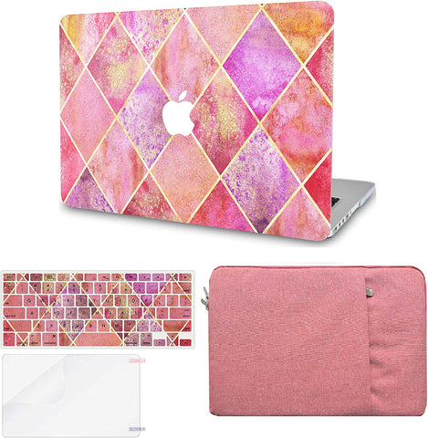 Macbook Case with Keyboard Cover, Screen Protector and Sleeve Package | Color Collection - Pink Diamond