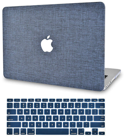 Macbook Case with Keyboard Cover Package | Color Collection - Navy Fabric - Case Kool