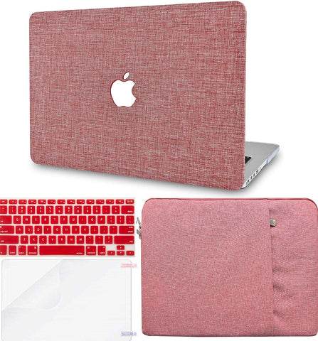 Macbook Case with Keyboard Cover, Screen Protector and Sleeve Package | Color Collection - Red Fabric - Case Kool