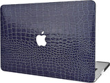 Macbook Case | Matte Navy Crocodile Leather