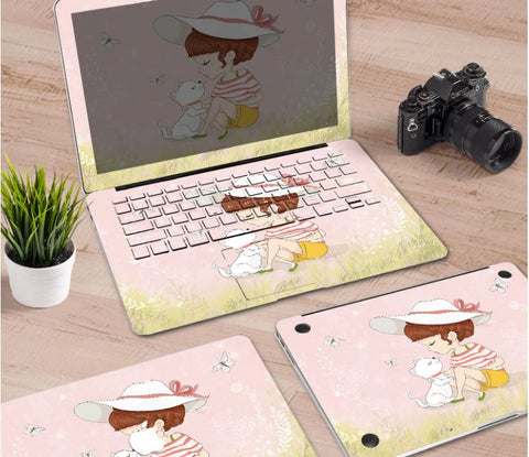 Macbook Decal Skin | Paint Collection - Girl & Cat - Case Kool