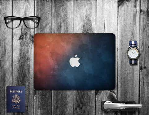 Macbook Decal Skin | Paint Collection - Dark Blue and Orange - Case Kool