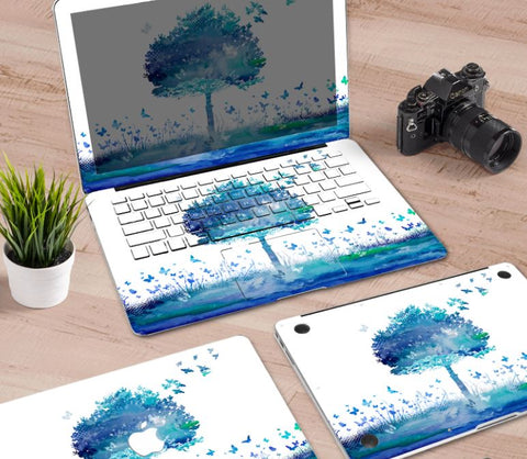 Macbook Decal Skin | Paint Collection - Blue Tree - Case Kool