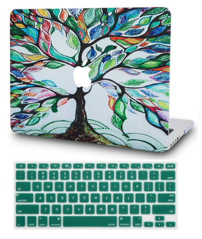 Macbook Case with US Keyboard Cover Package | Oil Painting Collection - Colorful Tree - Case Kool
