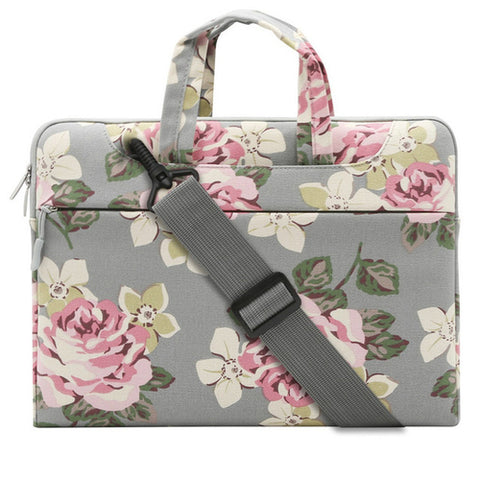 Macbook Sleeve Shoulder Bag - Grey Flower