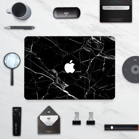 Macbook Decal Skin | Marble Collection - Black Marble - Case Kool