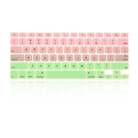 Macbook Ultra-Thin Keyboard Cover - Faded Ombre Pink & Light Green (US/CA keyboard) - Case Kool