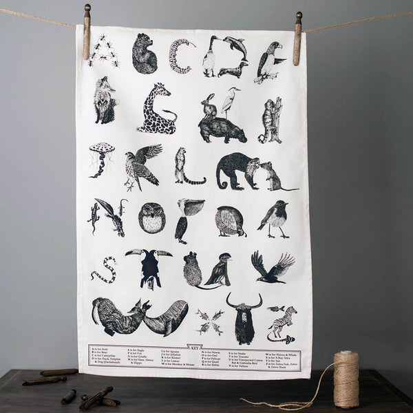Animal alphabet typographic cotton tea towel