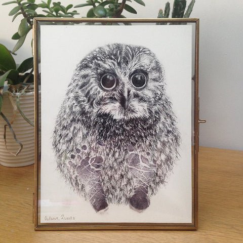 owl pencil drawing with baby footprints