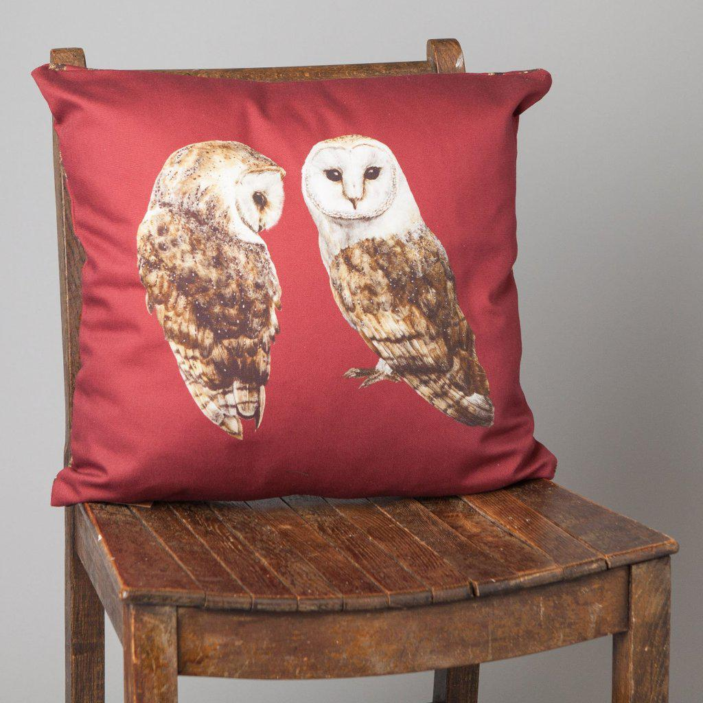Barn Owls Cushion-Lucy Coggle