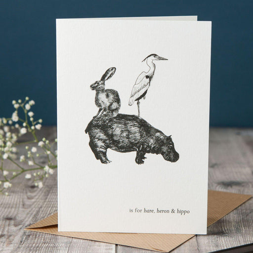 H is for Hare, Heron & Hippo Card-Lucy Coggle