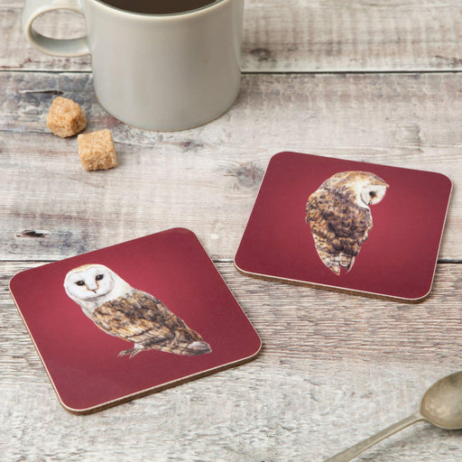 Pair of Barn Owl Coasters-Lucy Coggle