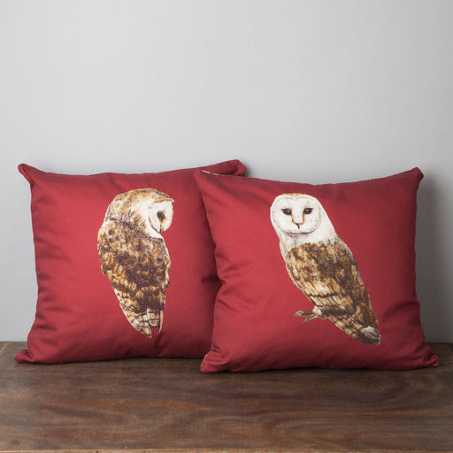 Pair of Barn Owl Cushions-Lucy Coggle