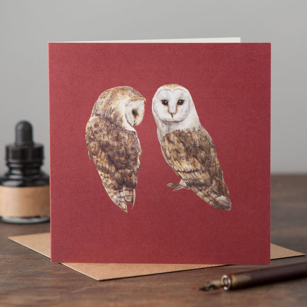 Pair of Barn Owls Card-Lucy Coggle