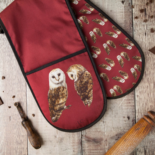 Pair of Barn Owls Double Oven Glove-Lucy Coggle