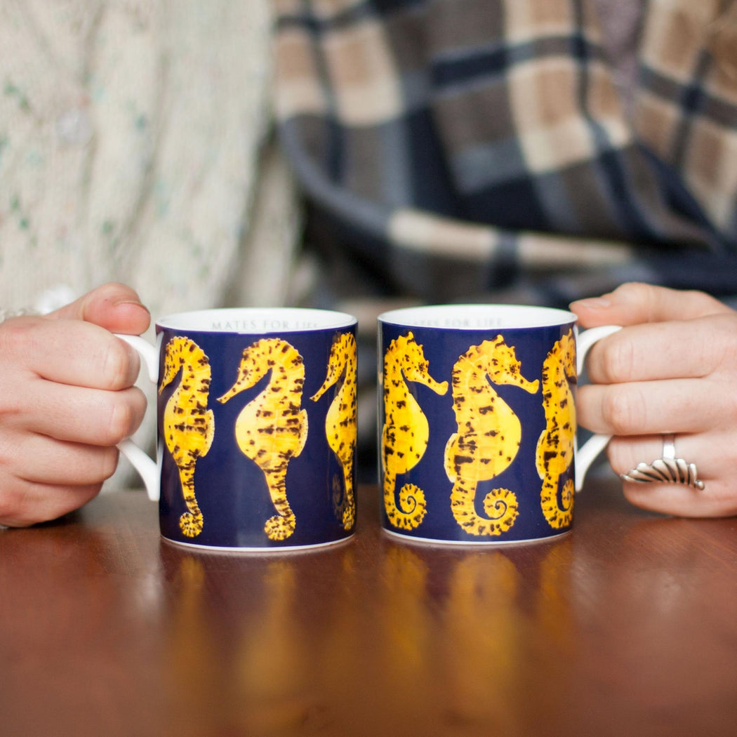 Pair of Bone China Seahorse Mugs-Lucy Coggle