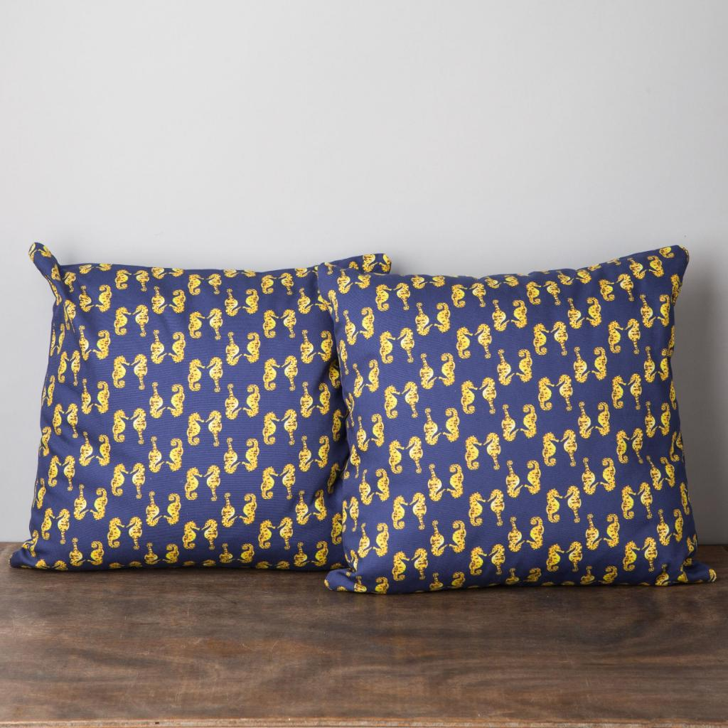 Pair of Seahorse Cushions-Lucy Coggle