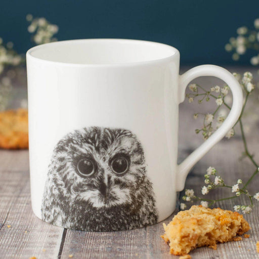 Peeping Owl Bone China Mug-Lucy Coggle