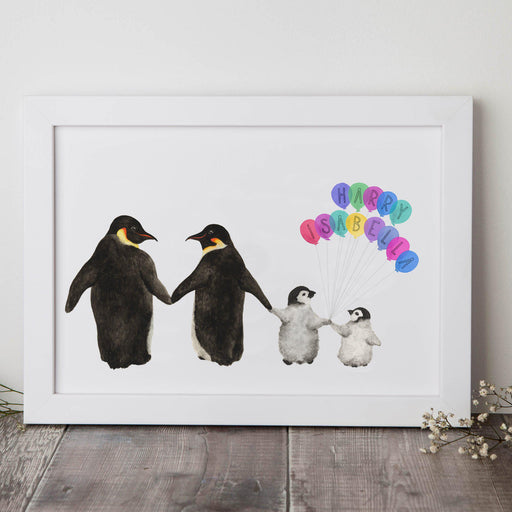 Personalised Family Of Penguins Print-Lucy Coggle