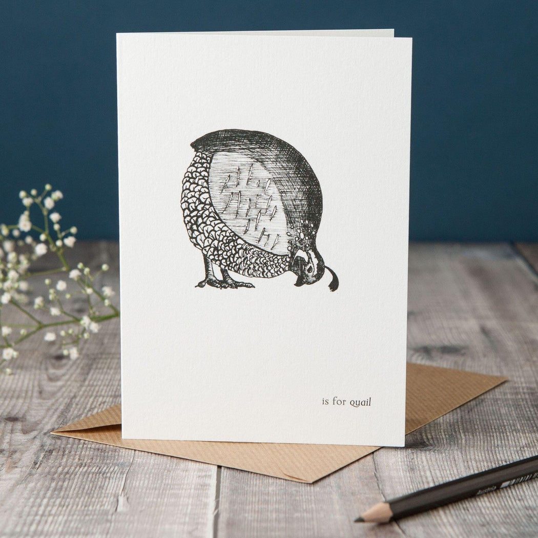 Q is for Quail Card-Lucy Coggle