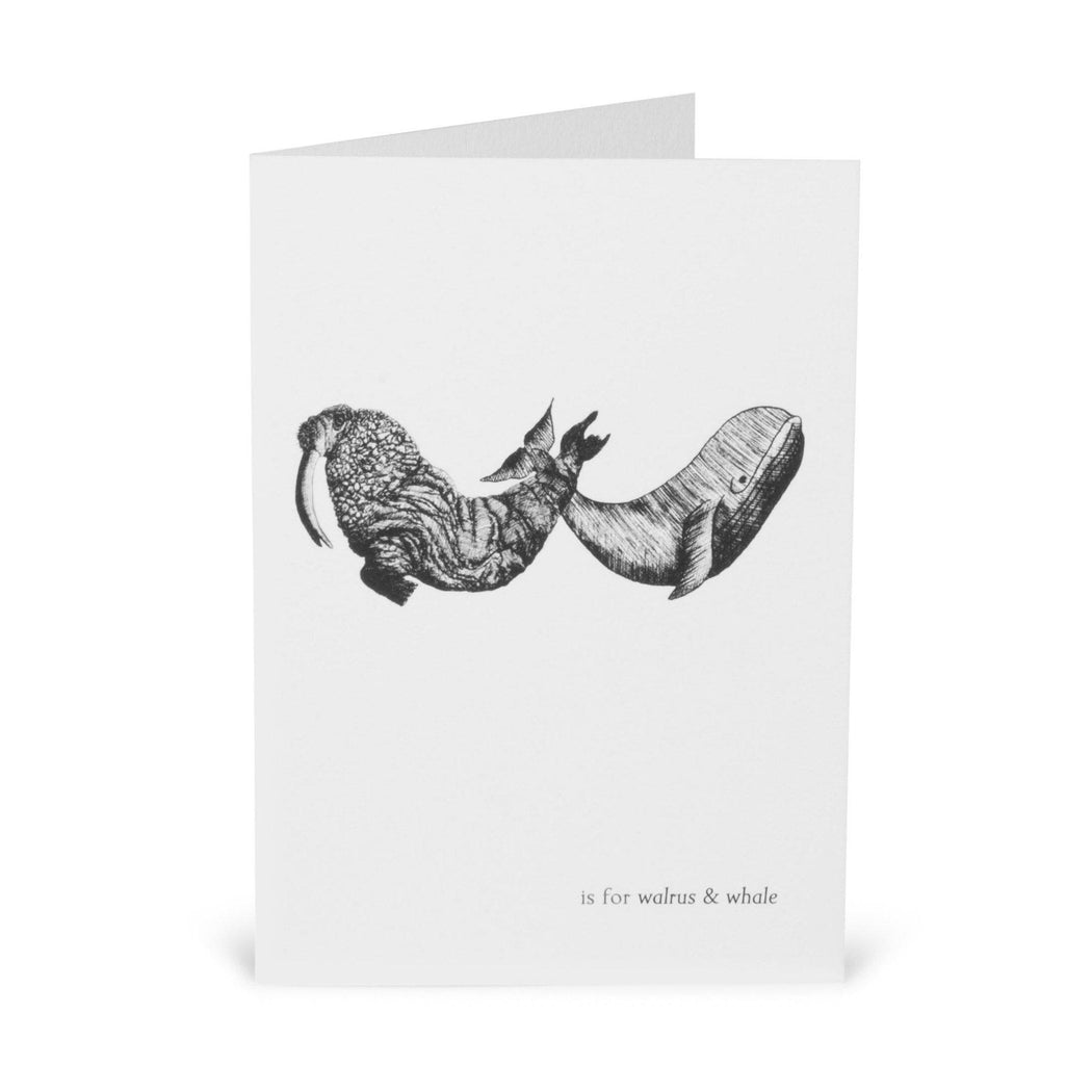 W is for Whale and Walrus Card-Lucy Coggle