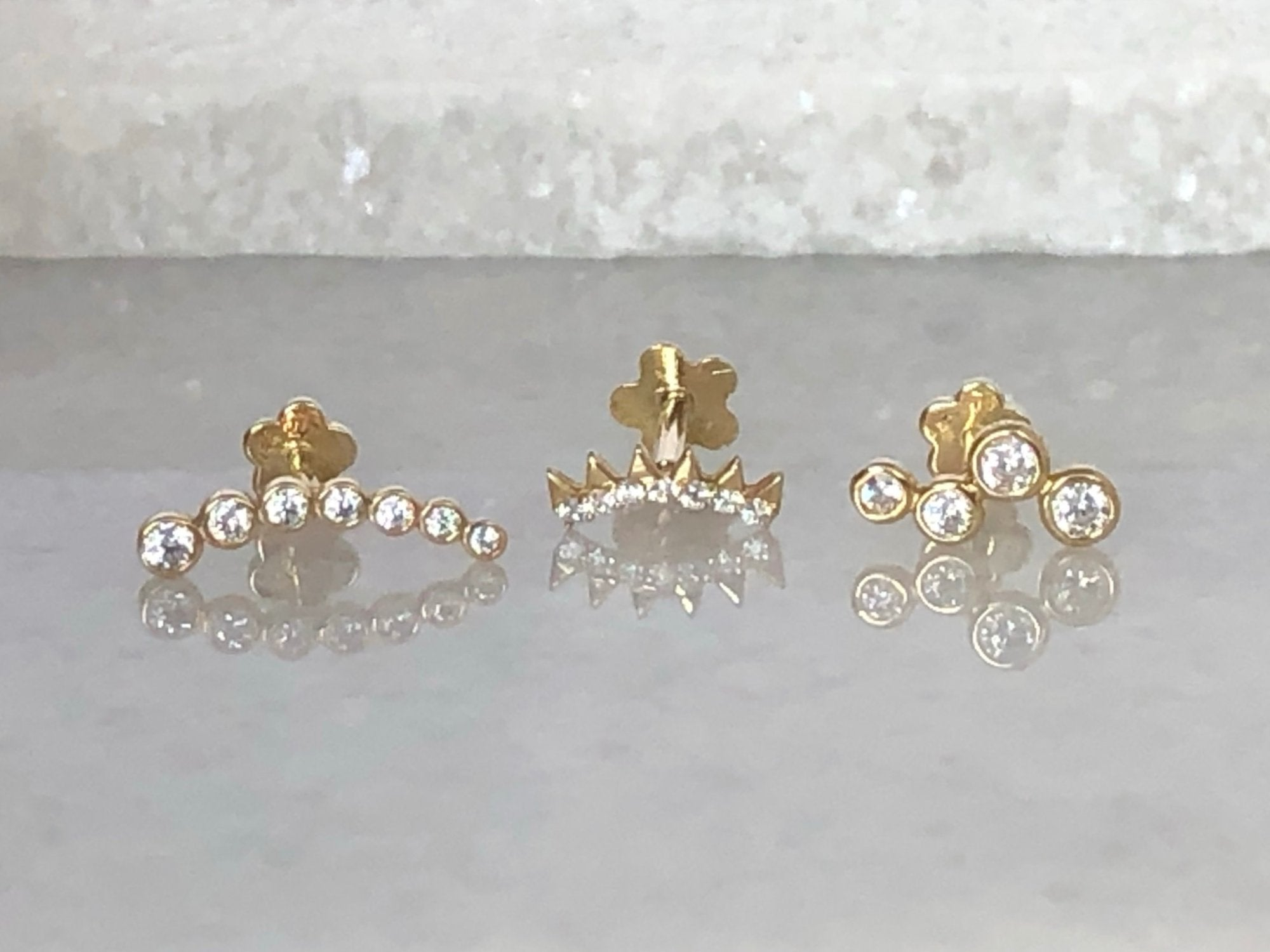 Climber Stud Earring Group | Piercing Earrings | Solid Gold Hypoallergenic Jewelry | Helix, Tragus, Cartilage | Two of Most Fine Jewelry