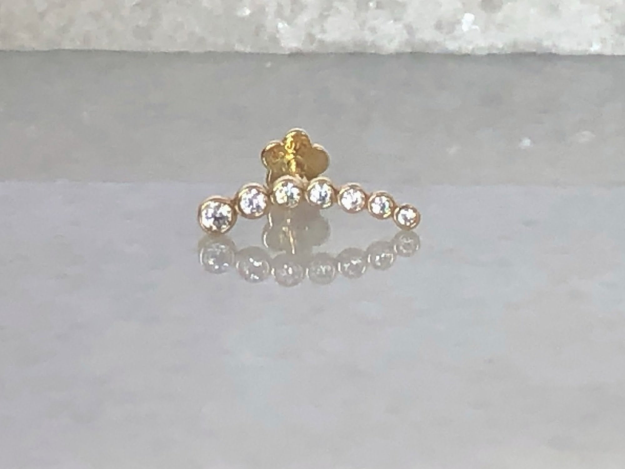 Curved Bar Stud Earring | Piercing Earrings | Solid Gold Hypoallergenic Jewelry | Helix, Tragus, Cartilage | Two of Most Fine Jewelry