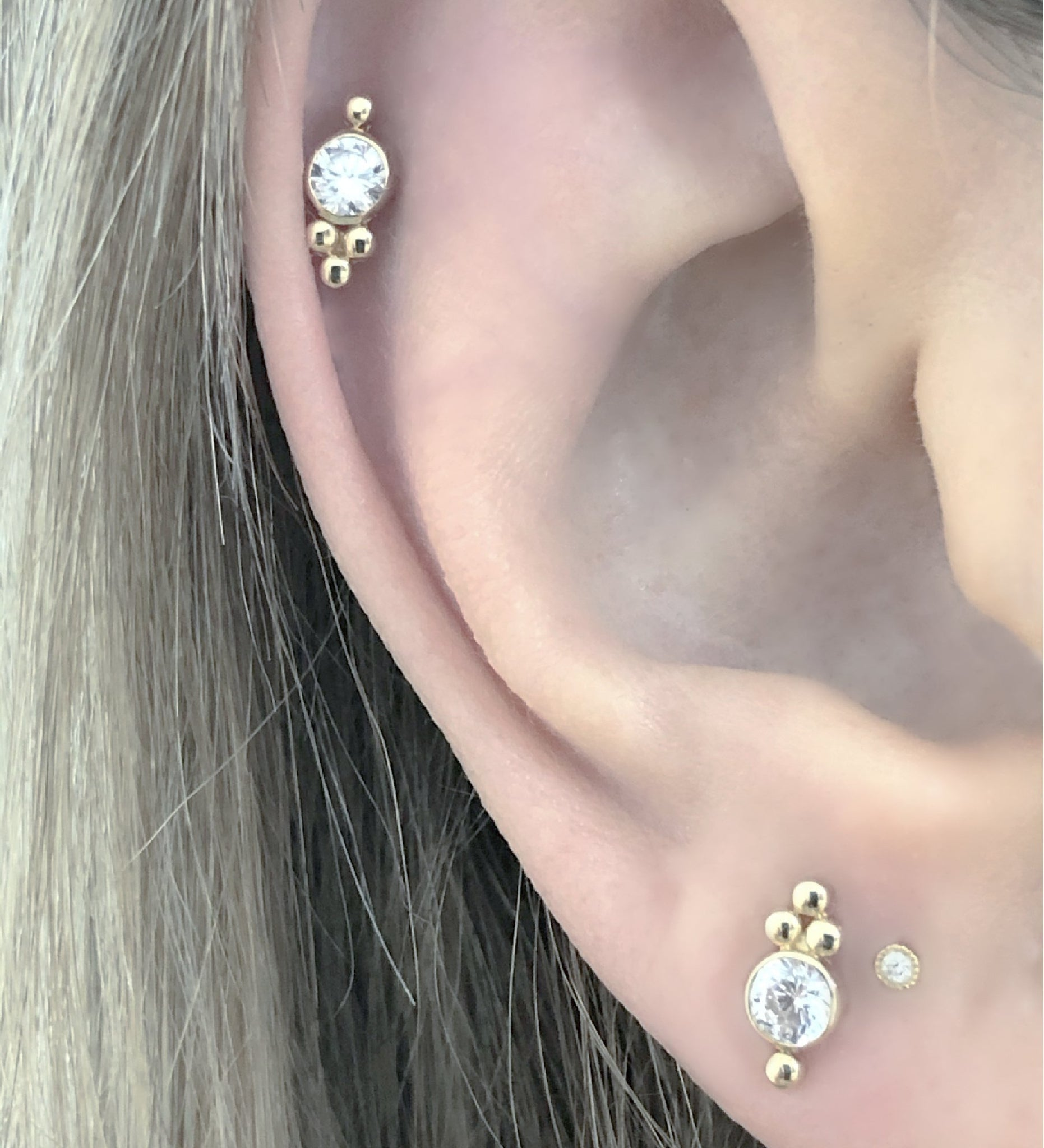 Trinity Stud Earrings Helix | Push Back Earrings | Solid Gold Hypoallergenic Jewelry | Helix, Cartilage | Two of Most Fine Jewelry