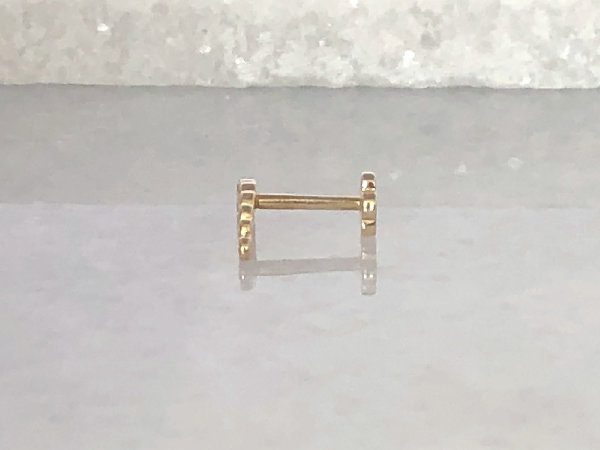 Curved Bar Crawler Earring | Piercing Earrings | Solid Gold Hypoallergenic Jewelry | Helix, Tragus, Cartilage | Two of Most Fine Jewelry