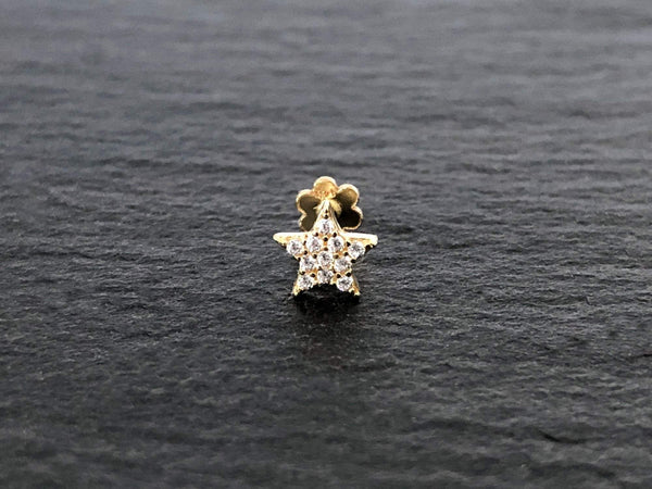 Star Stud Earring | Piercing Earrings | Solid Gold Hypoallergenic Jewelry | Helix, Tragus, Cartilage | Two of Most Fine Jewelry