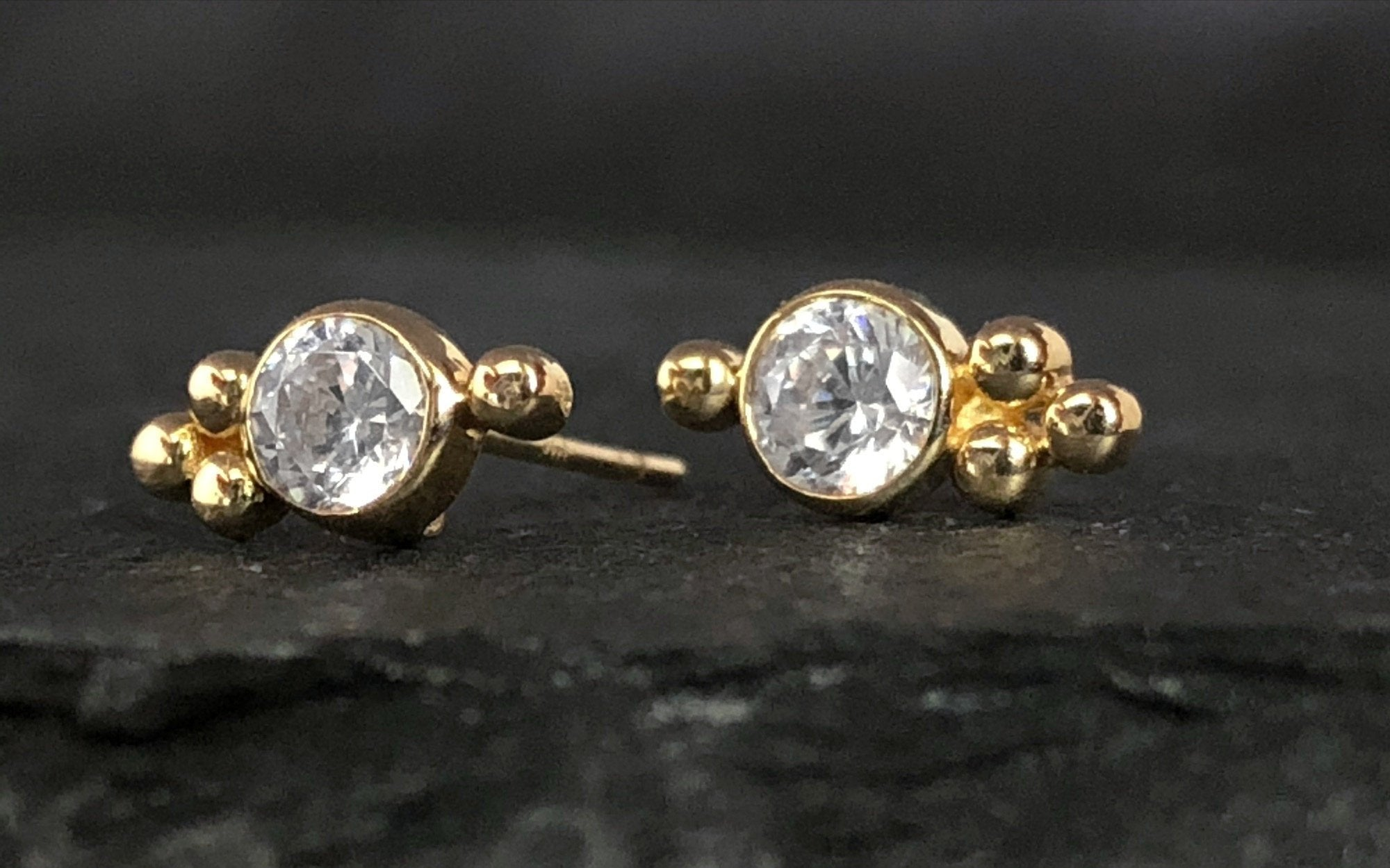 Trinity Stud Earrings | Push Back Earrings | Solid Gold Hypoallergenic Jewelry | Helix, Cartilage | Two of Most Fine Jewelry