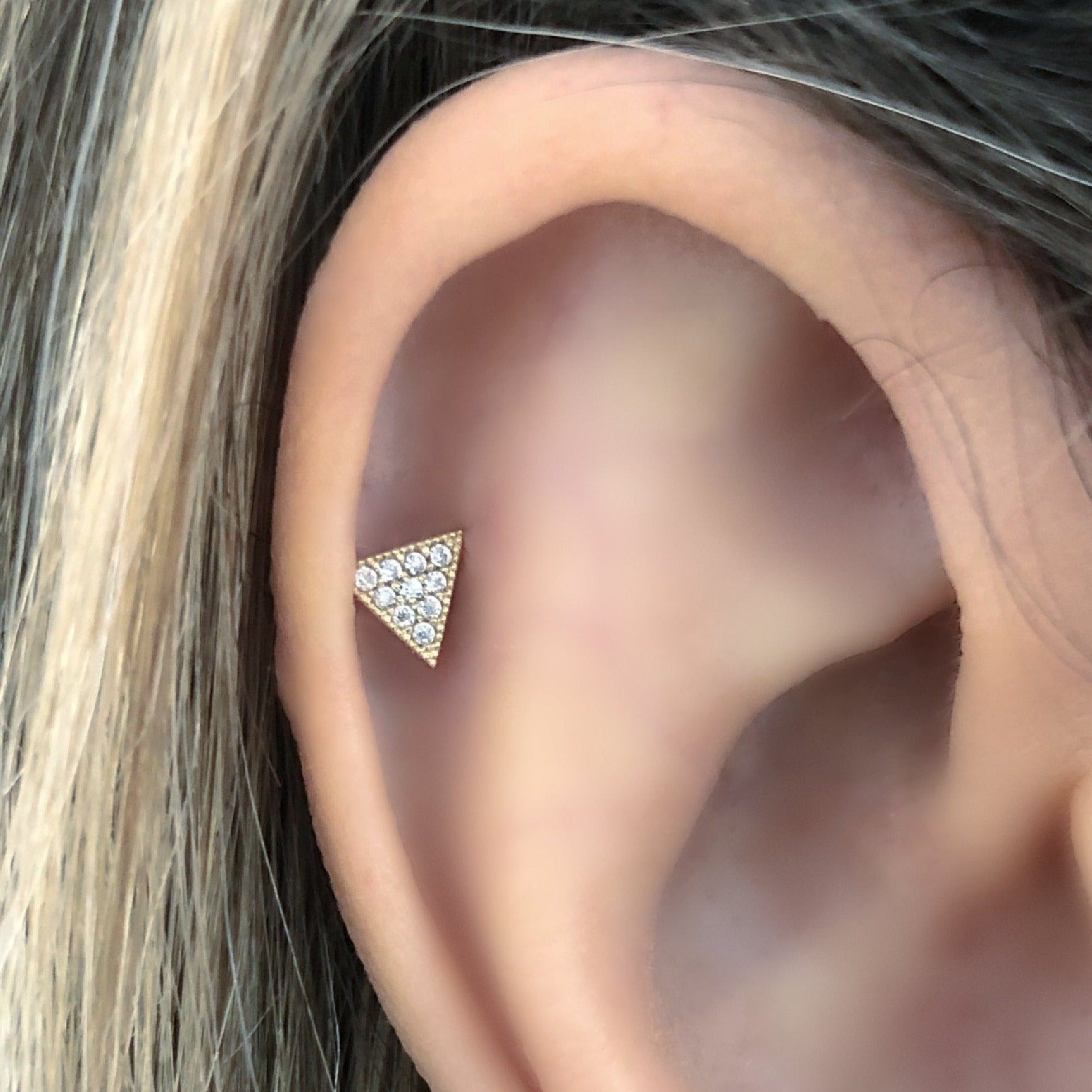 Triangle Stud Earring on Ear | Piercing Earrings | Solid Gold Hypoallergenic Jewelry | Helix, Tragus, Cartilage | Two of Most Fine Jewelry