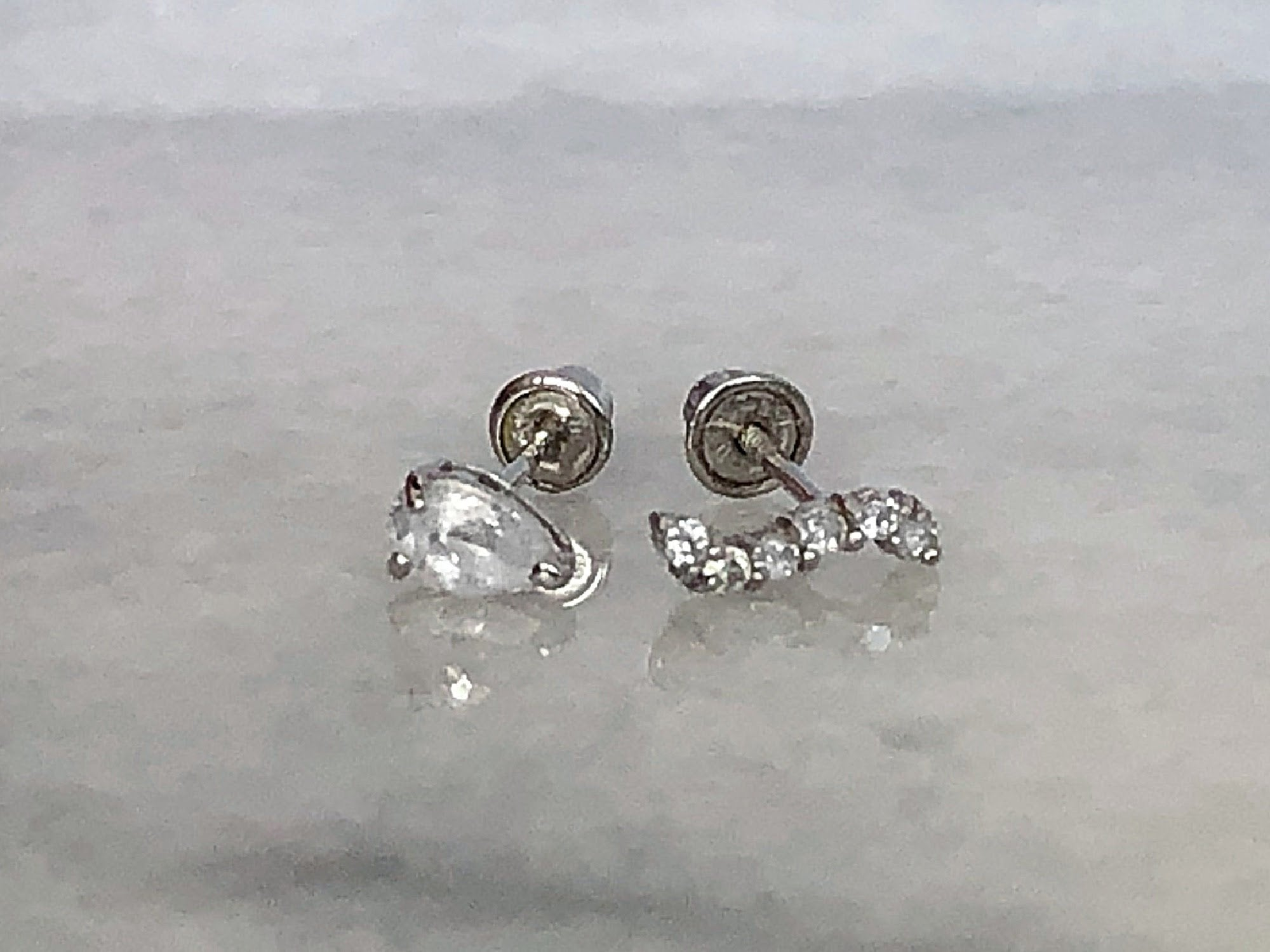 Wave Stud Earrings Group | Screw Back Earrings | Solid Gold Hypoallergenic Jewelry | Helix, Cartilage | Two of Most Fine Jewelry