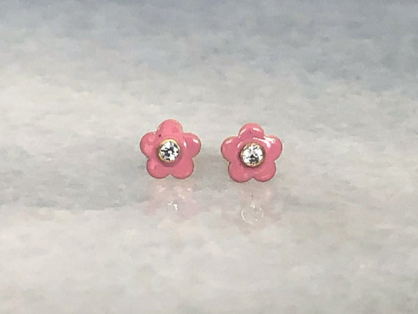 Pink Enamel Flower Stud Earrings | Screw Back Earrings | Solid Gold Hypoallergenic Jewelry | Helix, Cartilage | Two of Most Fine Jewelry